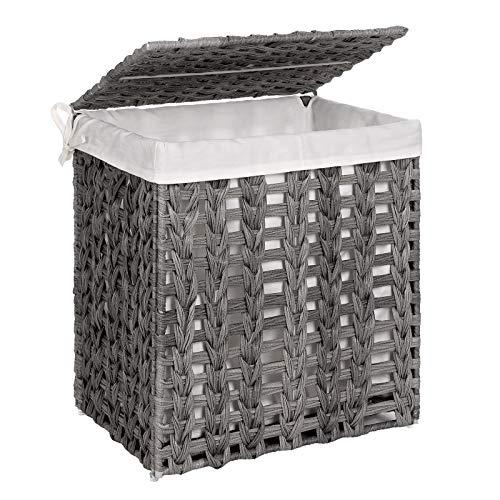 SONGMICS Wäschekorb handgeflochten, Wäschesammler aus Polyrattan, Wäschesack herausnehmbar, mit Deckel, Metallgestell, Aufbewahrungskorb, 45,5 x 32 x 51,5 cm, Wohnzimmer, Badezimmer, grau LCB050G02