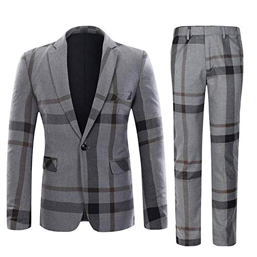 Mens Suits Slim fit 1 Knop 2 Stuk Tweed pak Check Blazer Jas en Broek
