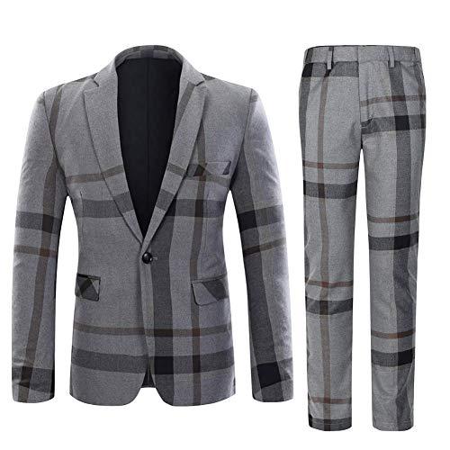 Mens Suits Slim fit 1 Knop 2 Stuk Tweed pak Check Blazer Jas en Broek