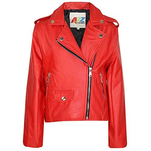 A2Z 4 Kids Enfants Filles Veste Rouge Designer - PU Leather Jacket 460. Red 11-12