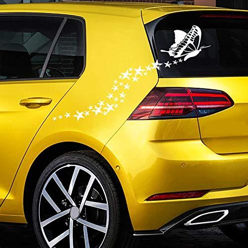 JINTORA Sticker - Autocollant De Voiture Étoile Papillon 60cm x 33cm Blanc - réglage Lunette arrière Voiture - Style de Voiture