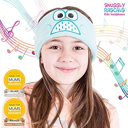 Snuggly Rascals (v2) Kinder-Kopfhörer – Kopfhörer für Kinder – bequem, verstellbar und Lautstärke begrenzt – ideal für Reisen & Kinder-Tablets und Smartphones – für Mädchen und Jungen – Fleece – Eule