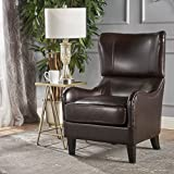 Christopher Knight Home 295960 Elijah Bonded Leather Sofa Chair, Brown