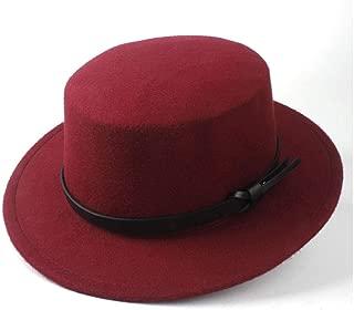 2019 Mens Womens Hats Unisex Men Women Flat Top Hat Pop Church Soft Autumn Winter Fashion Winter Flat Top Hat Wide Brim Hat Panama Hat Wool Trilby Fedora Hat (Color : Wine red, Size : 56-58)