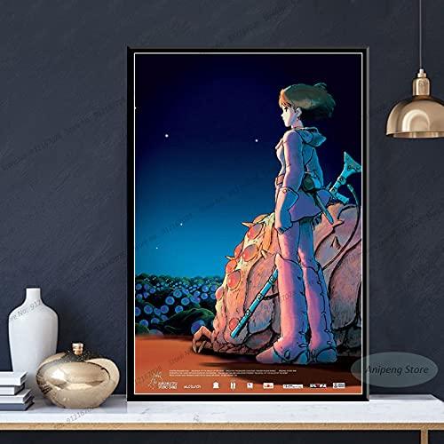 meishaonv Nausicaa della Valle del Vento Anime Studio Ghibli Poster Stampe su Tela Pittura Wall Art Picture A1582 50×70 CM Senza Cornice