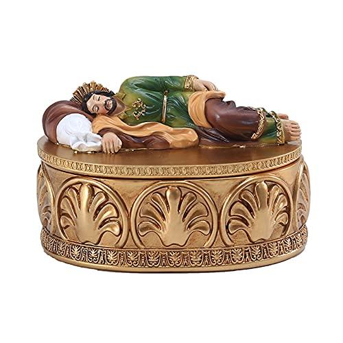 Heshan Adornos religiosos de San José 2021 | Caja de joyería de San José | Regalos de decoración de escritorio | Figuras de resina para dormir para oficina, coche, escritorio, decoración del hogar