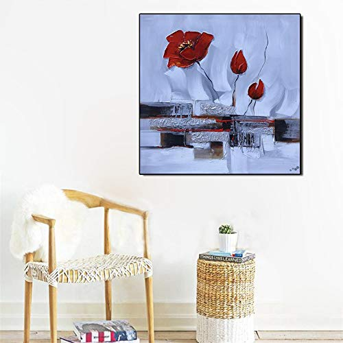 Poster Wandkunst abstrakte Moderne Leinwand Aquarell Blume Wohnzimmer Dekoration rahmenlose Malerei 50x50cm
