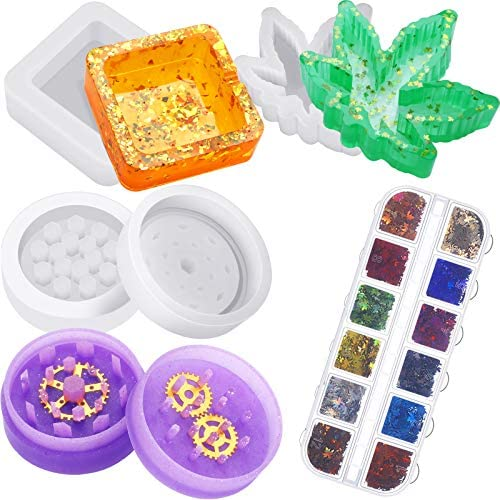 3 Pieces Maple Leaf Silicone Resin Mold Casting Mold and Silicone Herb Spice Grinder Mold Weed product image