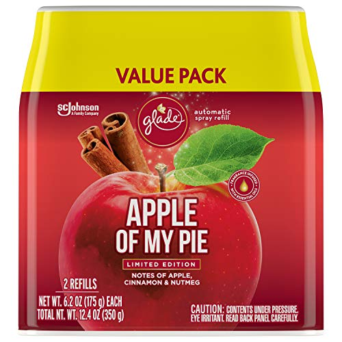 Glade Automatic Spray Refill, Air Freshener for Home and Bathroom, Apple of My Pie, 12.4 Oz, 2 Count
