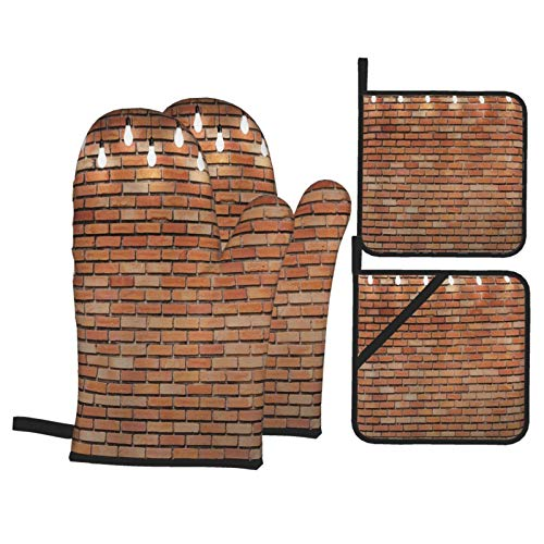 Juego de 4 Guantes y Porta ollas para Horno Resistentes al Calor Lámpara de Luces de Bombilla de Pared de ladrillo Niza para Hornear en la Cocina,microondas,Barbacoa