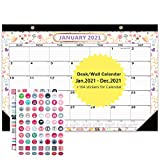 Abealv 2021 Desk Calendar, Wall Calendar with Transparent Cover, Ruled Blocks, Marked Holidays, Julian Date and Planner Stickers Perfect for Home Office for Planning, Learning, Organizing, 17' x 12'