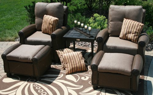 Big Sale The Giovanna Collection 2-Person All Weather Wicker/Cast Aluminum Patio Furniture Deep Seating Chat Set