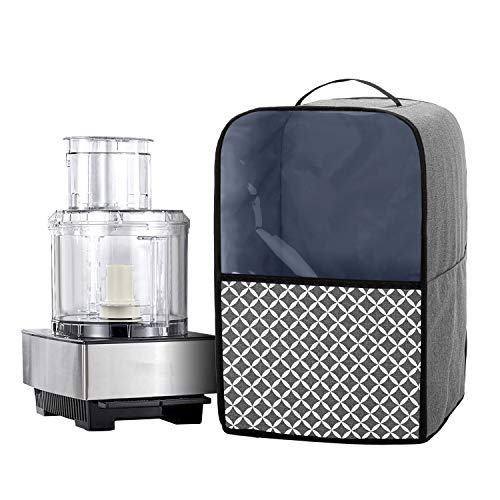 Yarwo Cover for Food Processor with Accessory Pockets and Top Handle Compatible with Kenwood, Ninja, Cuisinart, Magimix 2.7L - 3.5L Food Processor, Grey with Oval Pattern(Cover Only)