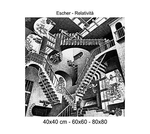 Social Crazy Stampa in Tela Canvas 100% qualità Italia - Escher - Relatività Effetto Dipinto Idea Regalo Casa Quadro Cucina Stanza da Letto Soggiorno (40x40)