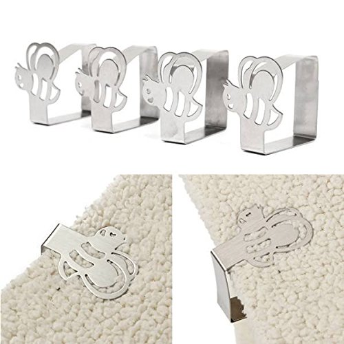 Saver 4pcs Stainless Steel Bee Tablecloth Clips Table Cover Holder For Party Picnic Wedding