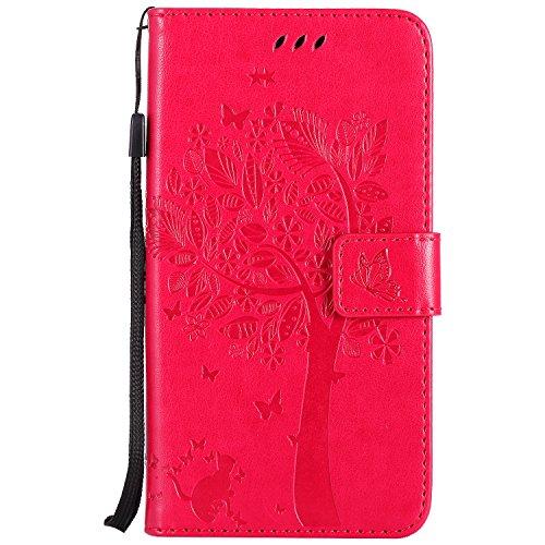 Cover Xiaomi Redmi Note 4/ Note 4X, Flip Custodia in Albero Gatto e Farfalle Design Pelle Protettiva Portafoglio Case con Porta Carte per Xiaomi Redmi Note 4/4X, Magenta