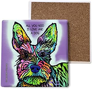 SJT ENTERPRISES, INC. Schnauzer - All You Need is Love and a Dog Absorbent Stone Coasters, 4-inch (4-Pack) Features The Ar...