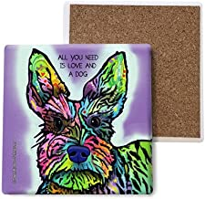 SJT ENTERPRISES, INC. Schnauzer - All You Need is Love and a Dog Absorbent Stone Coasters, 4-inch (4-Pack) Features The Artwork of Dean Russo (SJT07044)