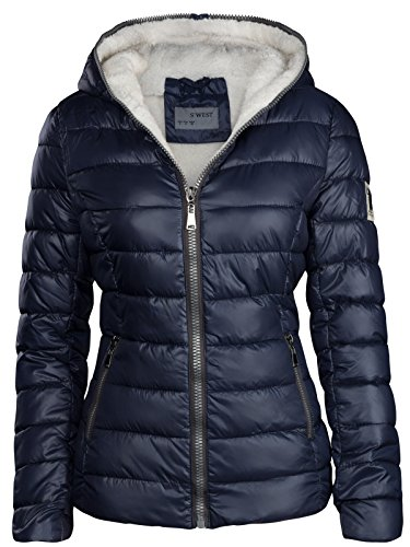 S'West Damen Winter Jacke GEFÜTTERT KURZ STEPP DAUNEN Optik Kapuze Skijacke WARM New, Farbe:Dunkelblau, Größe:XXL