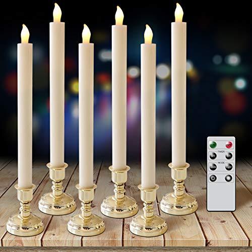 Eldnacele Set von 6 Flammenlose Kerzen mit Fernbedienung und Timer, Echtwachs-Elfenbein-Kerzen und Gold Kerzenhalter enthalten, LED-Fenster Kerzen für Haus-und Hochzeitsdekoration