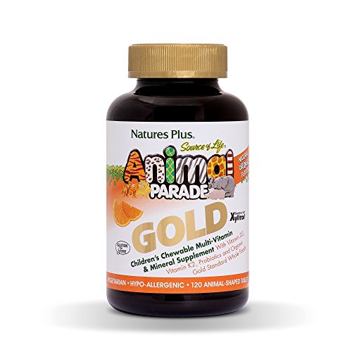 Nature's Plus Animal Parade Source of Life Gold Children's Multivitamin - Assorted, Cherry, Orange & Grape Flavours - Chewable Animal Shaped Tablets - Whole Foods, Gluten Free (Orange, 120)