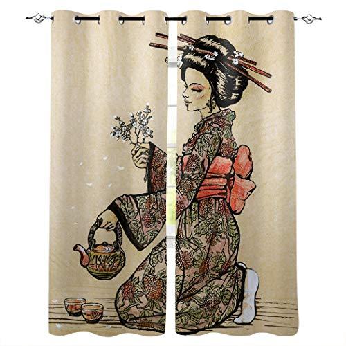 Cortinas para Habitación de Salón Opacas y Térmicas Aislantes Blanco Negro Amarillo Rojo japonés Kimono Mujer UV la Luz Proteccion Privacidad con Ojales para Dormitorio 75x166cm x2