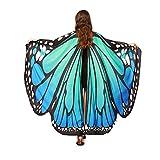Goosuny Damen Schmetterling Kostüm Schmetterling Flügel Schal Nymphe Pixie Zubehör Erwachsene Schmetterlingsflügel Poncho Umhang Karneval Fasching Cosplay Tanzkostüm