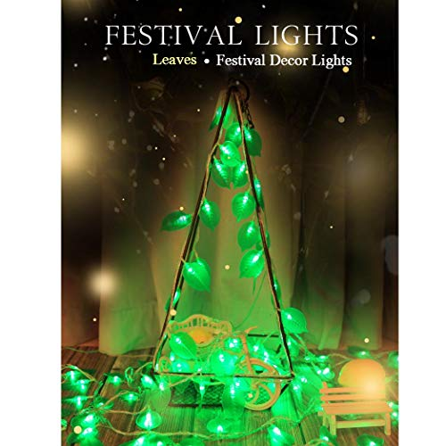 REDGO LED String Lights 20 LED Leaves Decorative Water Resistant Fairy Battery Operated String Lights for Centrepiece Yard Patio Fence Pergola Centerpiece Wedding Party Room Decor (8.2ft/2.5m Green)