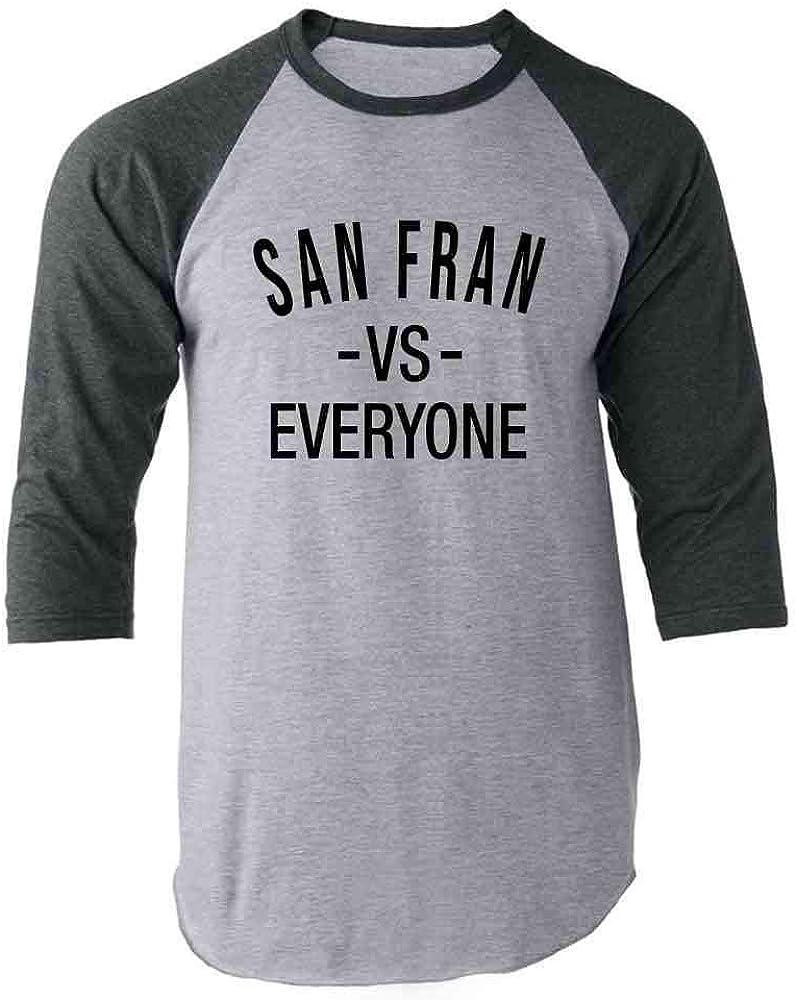 San Francisco vs Everyone San Fran Sports Fan Gray 2XL Raglan Baseball Tee Shirt