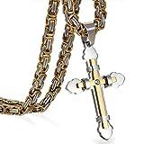 JewelryWe Schmuck Herren Anhänger Halskette Edelstahl Zirkonia Kreuz Kreuzanhänger mit 65cm...
