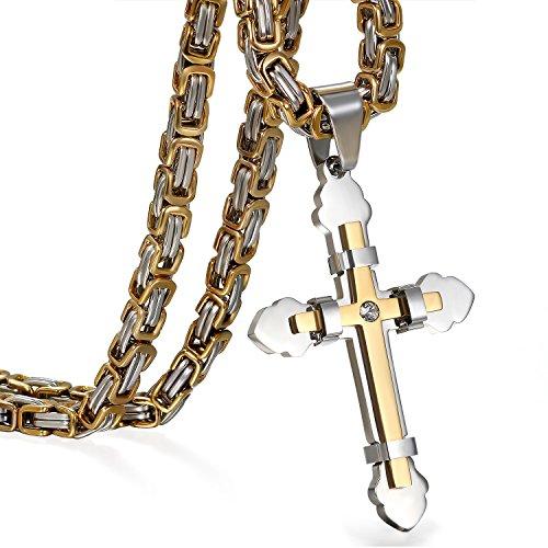 OIDEA Collar Cruz Hombre Acero Inoxidable Colgante Oro Jesús Cadena Trigo Ancho Hombre Regalo Pascua Salud Joyería Moda Chulo