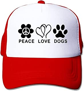 Unisexo Gorras de béisbol/Sombrero, Men Mesh Fitted Hat Cap Peace Love Dogs Paw Snapback Hat