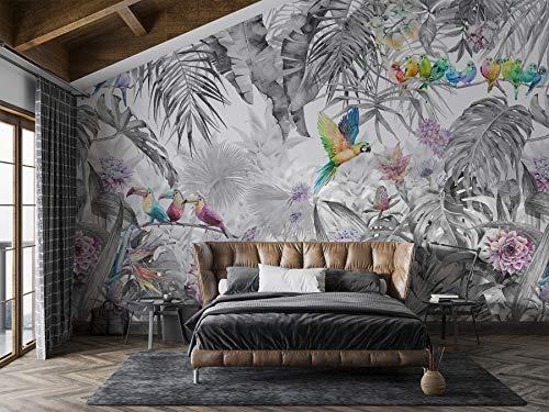 SILK ROAD EU Papel Pintado Pared Panorámico Jungla de Seda, 356cm × 250, Bandada de loros en la selva en blanco y negro, Póster Gigante de Pared Personalizado 3D Para Salón o Dormitorio