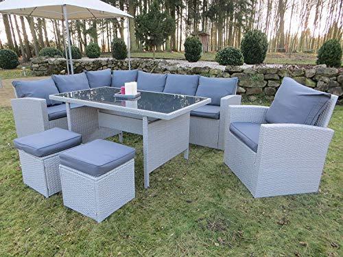 Hohe Dinning Poly Rattan Lounge inkl. einem Sessel und Zwei Hocker Milos XL auch spiegelverkehrt nutzbar aus dem Hause Pure Home & Garden