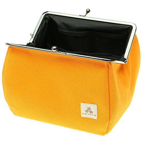 watona帆布がま口【大容量】化粧ポーチ5.5寸取り外し可能インナー仕切りポケット付き(オレンジ)