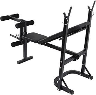Weight Bench Barbell Lifting Press Gym Equipment Exercise Adjustable Incline for Full Body Workout, Foldable Incline/Decline FID Bench Press for Home Gym