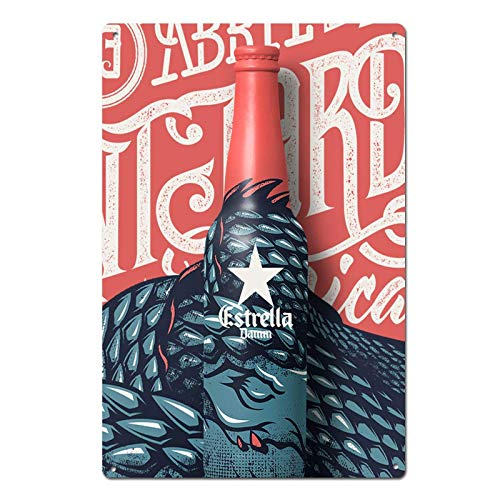 Estrella Damm Beer Spain Barcelona - Placa decorativa para pared (19,8 x 30 cm)