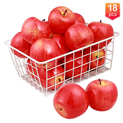 18 Pcs Fake Fruit, YINGERHUAN Artificial Lifelike Realistic Apple Fruits Decoration for Kitchen, Party, Home, Table Decor