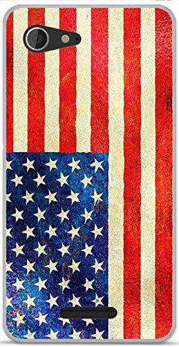 Beschermhoes gemaakt van zachte TPU-gel, voor Sony Ericsson Xperia E3, Ontwerp Vlag USA Vintage Metallic Effect