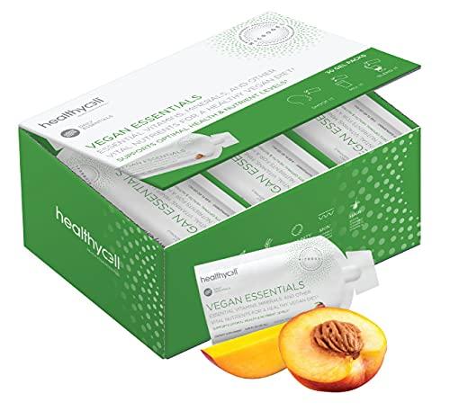 Healthycell Vegan Essentials | Vegan Multivitamin Liquid Gel for Hair, Skin, Nails, Brain, Energy, Muscle | Plant-Based Omega 3, B12, D3, Biotin, Iron, Choline, Amimo Acids | MICROGEL, 30-Servings