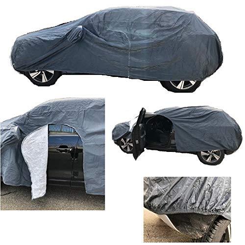 Kompatibel mit Opel Adam Autoabdeckung, wasserdicht, frostsicher, kratzfest, Größe M 432 x 185 x 120 cm, Autoabdeckung mit seitlichem Reißverschluss