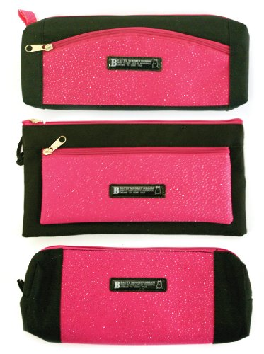 Trousse Crayon Just Stationery Taille Assorties Paillette Rose/Noir