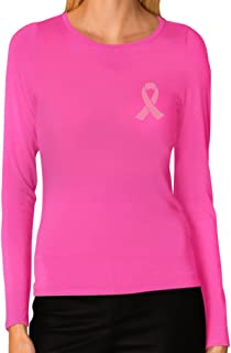 Breast Cancer Awareness - Pocket Size Pink Ribbon Women Long Sleeve T-Shirt