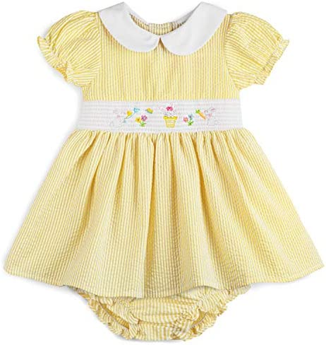 Good Lad Infant Girls Yellow Seersucker Smocked Easter Dress with Panty 3 6 Months product image