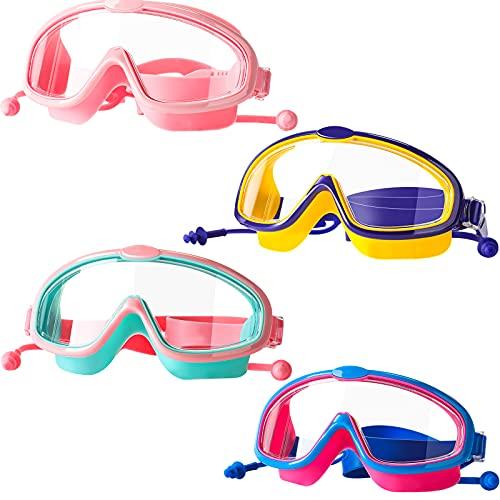 4 Pezzi Occhialini da Nuoto per Bambini con Tappi per Orecchie Monopezzo Occhiali da Nuoto in Silicone Occhialini con Visuale Ampia Trasparente E Montatura Larga Impermeabile, Età 3-16