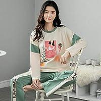 長袖フルコットンパジャマ甘いソフト秋冬の女性のパジャマセットさわやかなグリーンフラワープリントピジャマナイトウェアセット-L