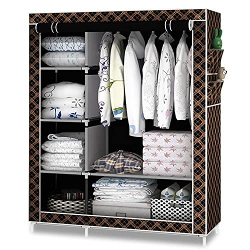 LICHUAN Armario simple y moderno portátil para colgar ropa, tela de armario, tubo de montaje de acero reforzado con marco de acero (color: F)