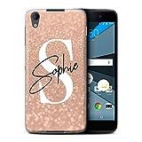 eSwish Personalisiert Individuell Verblaßter Blick Glitzer Effekt Hülle für BlackBerry Neon/DTEK50 / Rose Gold Rosa Unterschrift Design/Initiale/Name/Text Schutzhülle/Case/Etui