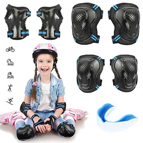 Idefair Kids Knieschoner-Set Kinder Schutzausrüstung Ellbogen-Knieschoner für Jungen, Jungen und Mädchen mit Zahn-Set zum Skaten Radfahren Outdoor-Sportarten