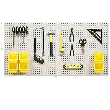 Seville Classics UltraHD 24  X 48  Steel Pegboard Set and 23-Piece Peg Hook Assortment with 6 Bins